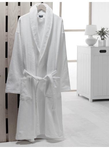 fabrikalite Platinum Serisi Kadife Bornoz M/L Beden Beyaz